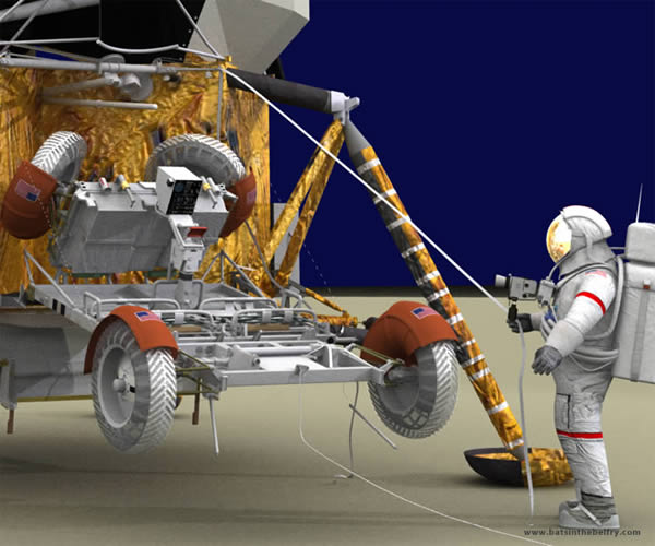 close up view of lunar rover and astronaut